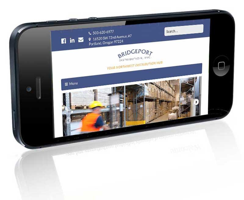 Bridgeport Distribution homepage on iPhone